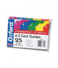 """Oxford 1/5 Tab 4"""" x 6"""" Alphabetic Index Card Guides, Assorted, 1 Set"""