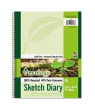 "Pacon 8-1/2"" x 11"", 70-Sheet, Unruled White Ecology Sketchy Diary"