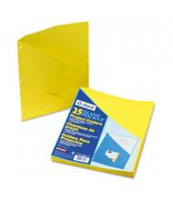 "Pendaflex 8-1/2"" x 11"" 3-Hole Punched Slash Pocket Project Folders, Yellow, 25/Pack"