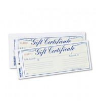 """Rediform 8-1/2"""" x 3-2/3"""" 25-Sheets, Blue Gold Gift Certificates with Envelopes"""