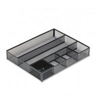 Rolodex 6-Compartment Metal Mesh Deep Desk Drawer Organizer, Black