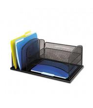 Safco 6-Section Steel Mesh Desk Organizer, Black
