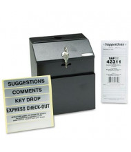 """Safco Steel Suggestion/Key Drop Box with Locking Top, 7"""" W x 6"""" D x 8.5"""" H, Black"""