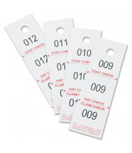 "Safco 1-1/2"" x 5"" 3-Part Coat Check Tags, White, 500/Pack"