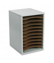 Safco 11-Section Vertical Wood Desktop Literature Sorter, Gray