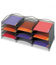 Safco 12-Section Onyx Steel Mesh Literature Sorter, Black