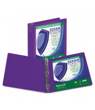 """Samsill 2"""" Capacity 8-1/2"""" x 11"""" Round Ring Clean Touch View Binder, Purple"""
