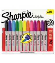 Sharpie Permanent Marker, Brush Tip, Assorted, 12-Pack