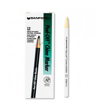 Sharpie Peel-Off China Marker, White, 12-Pack