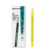 Sharpie Peel-Off China Marker, Yellow, 12-Pack