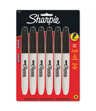 Sharpie Super Permanent Marker, Fine Point, Black, 6-Pack
