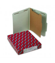Smead 4-Section Letter 25-Point Pressboard Top Tab Classification Folders, Gray-Green, 10/Box
