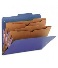 Smead 6-Section Letter 23-Point Pressboard 2-Pocket Classification Folders, Dark Blue, 10/Box