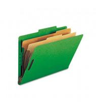 Smead 6-Section Legal 23-Point Pressboard Top Tab Classification Folders, Green, 10/Box