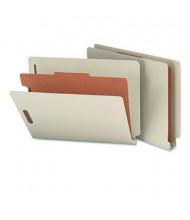 Smead 4-Section Letter 25-Point Pressboard Classification Folders, Gray-Green, 10/Box
