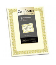 """Southworth 8-1/2"""" x 11"""", 66lb, 15-Sheets, Ivory Fleur Gold Foil Border Premium Certificates"""