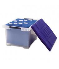 "Storex 19"" D Letter & Legal Plastic File Tote Storage Box w/ Lid, Clear"
