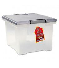 "Storex 14-1/4"" D Letter & Legal Portable File Storage Box w/ Locking Handles, Clear"