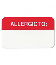 "Tabbies 1-1/2"" x 7/8"" Allergy Medical Warning Labels, White, 250/Roll"