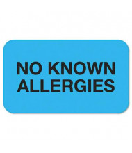 "Tabbies 1-1/2"" x 7/8"" ""No Known Allergies"" Medical Labels, Light Blue, 250/Roll"