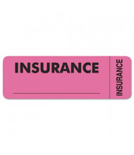 "Tabbies 3"" x 1"" Insurance Medical Labels, Pink, 250/Roll"