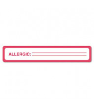 "Tabbies 5-1/2"" x 1"" Allergy Medical Warning Labels, White, 175/Roll"