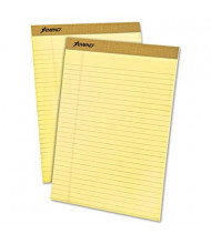 """Ampad 8-1/2"""" x 11-3/4"""" 50-Sheet 12-Pack Legal Rule Perforated Pads, Canary Paper"""