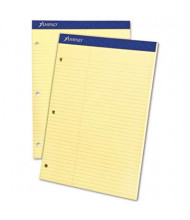 """Ampad 8-1/2"""" X 11-3/4"""" 100-Sheet Law Rule Double Sheet Pad, Canary Paper"""
