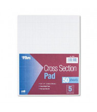 """TOPS 8-1/2"""" X 11"""" 50-Sheet 5 Sq. Quadrille Rule Cross Section Pad"""