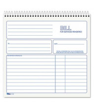 "TOPS 8-1/2"" x 7-3/4"" 50-Page 2-Part Spiralbound Service Invoice Book"