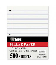 """TOPS 8-1/2"""" x 11"""", 500-Sheets, College Rule Filler Paper"""