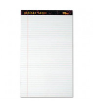 """TOPS 8-1/2"""" X 14"""" 50-Sheet 12-Pack Docket Gold Legal Rule Perforated Pads, White Paper"""