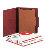 Universal 4-Section Letter 25-Point Pressboard Classification Folders, Red, 10/Box