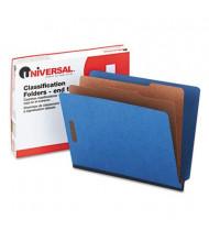 Universal 6-Section Letter 25-Point Pressboard Classification Folders, Blue, 10/Box