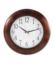 """Universal One 12.8"""" Round Wood Wall Clock, Cherry"""