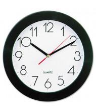 "Universal 9.8"" Round Wall Clock, Black"