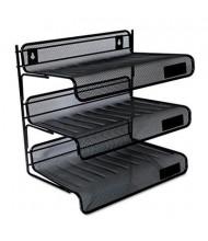 Universal One Three-Tier Mesh Desk Shelf Letter Tray, Black
