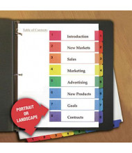Universal One Letter 8-Tab Table of Contents Multicolor Tab Index Dividers, White, 6/Pack