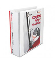 "Universal One 3"" Capacity 8-1/2"" x 11"" Straight Ring Comfort Grip Deluxe View Binder, White"