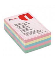 """Universal One 4"""" X 6"""", 5 100-Sheet Pads, Lined Pastel Sticky Notes"""