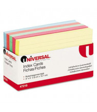 """Universal 3"""" x 5"""", 100-Cards, Assorted Colors Recycled Index Cards"""