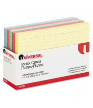 """Universal 4"""" x 6"""", 100-Cards, Assorted Colors Recycled Index Cards"""