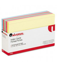 """Universal 5"""" x 8"""", 100-Cards, Assorted Colors Recycled Index Cards"""