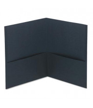 "Universal 8-1/2"" x 11"" Two-Pocket Folders, Black Textured Covers, 25/Box"
