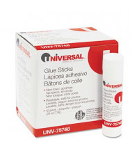 Universal .28 oz Permanent Glue Sticks, Clear, 12/Pack