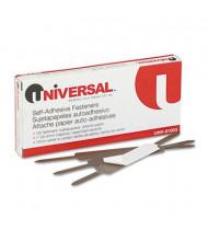 "Universal 2-3/4"" Length 1"" Capacity Self-Adhesive Paper and File Fasteners, 100/Box"