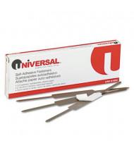 "Universal 2-3/4"" Length 2"" Capacity Self-Adhesive Paper and File Fasteners, 100/Box"