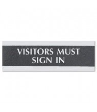 """Headline Century 9"""" W x 3"""" H """"Visitors Must Sign In"""" Office Sign"""