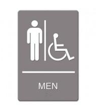 "Headline 6"" W x 9"" H Men Restroom/Wheelchair Accessible ADA Sign"