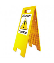 "Headline 10.5"" W x 25.5"" H Customizable Floor Tent Sign, Yellow"